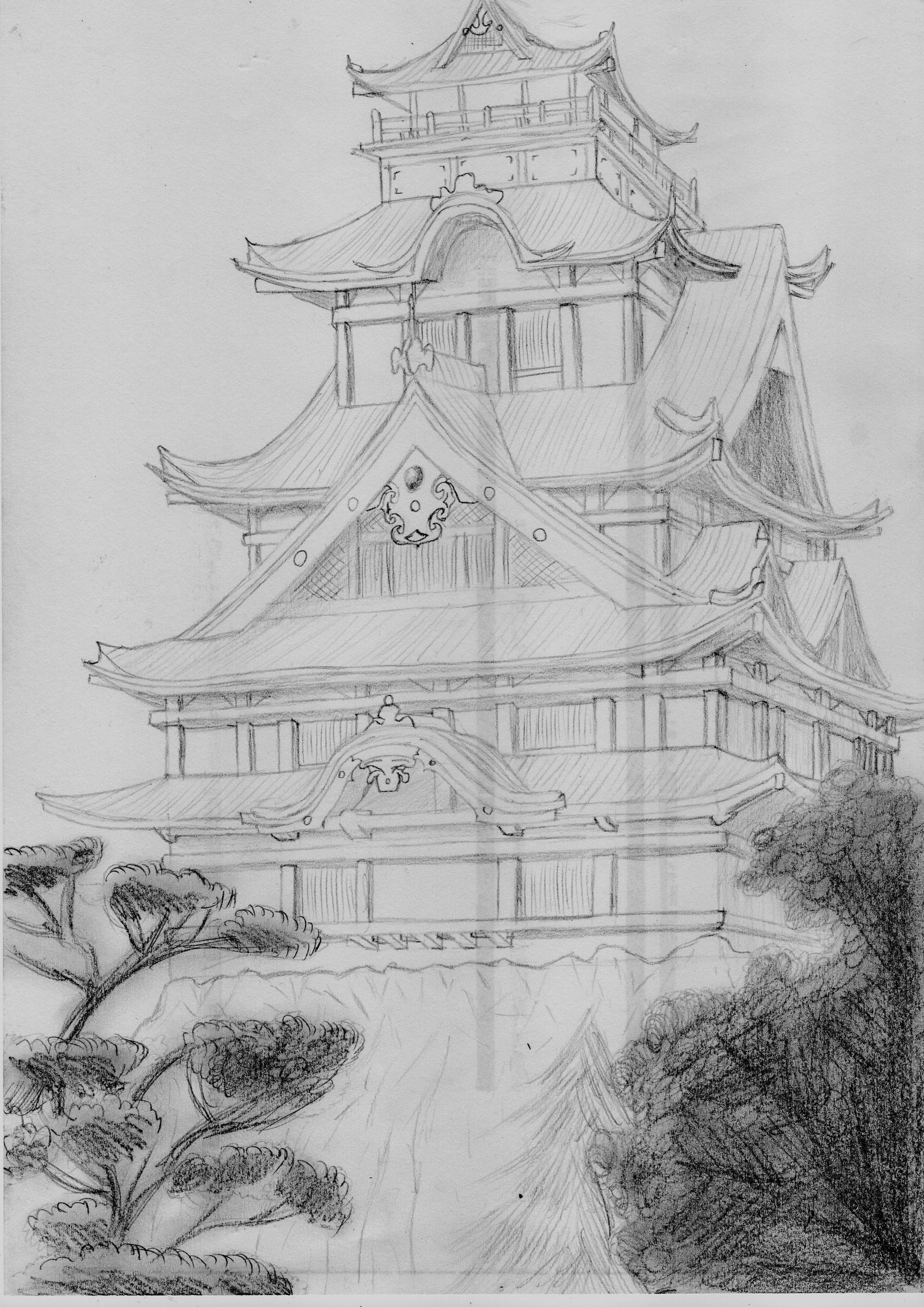 Картинки про японию карандашом