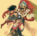 Wonder Woman vs Tezcatlipoca
