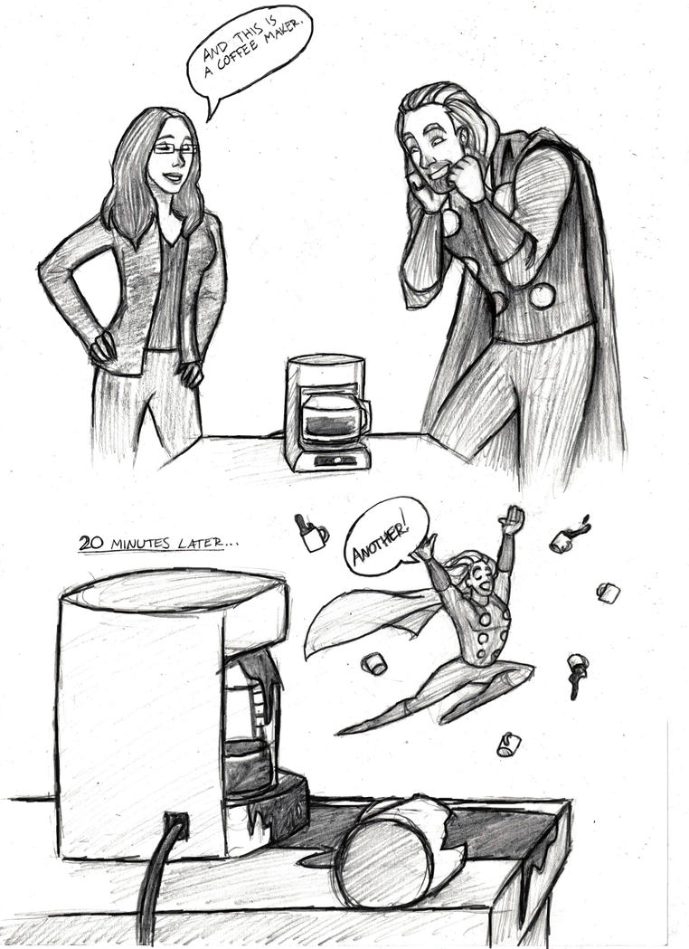 Line Art Maker : Thor and a coffee maker by mirish on deviantart