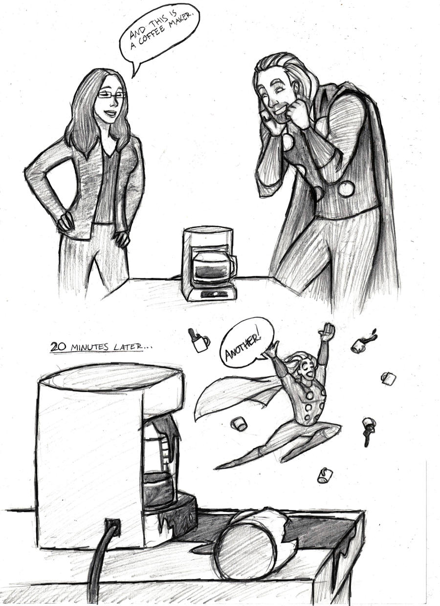 Line Drawing Maker : Thor and a coffee maker by mirish on deviantart