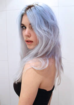 Girl with Blue Hair - stock