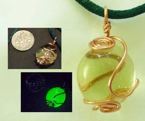 Uranium glass wirewrap pendant by wombat1138