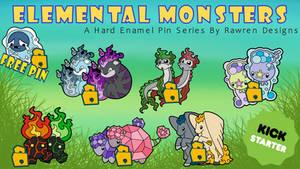 Elemental Monsters Enamel Pin Kickstarter