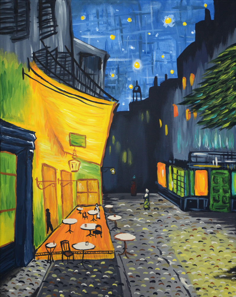 Cafe terrace at night by shmemcat on deviantart for Terrace night