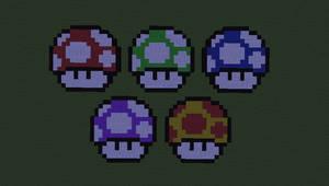 Mario Mushrooms by Awajuk
