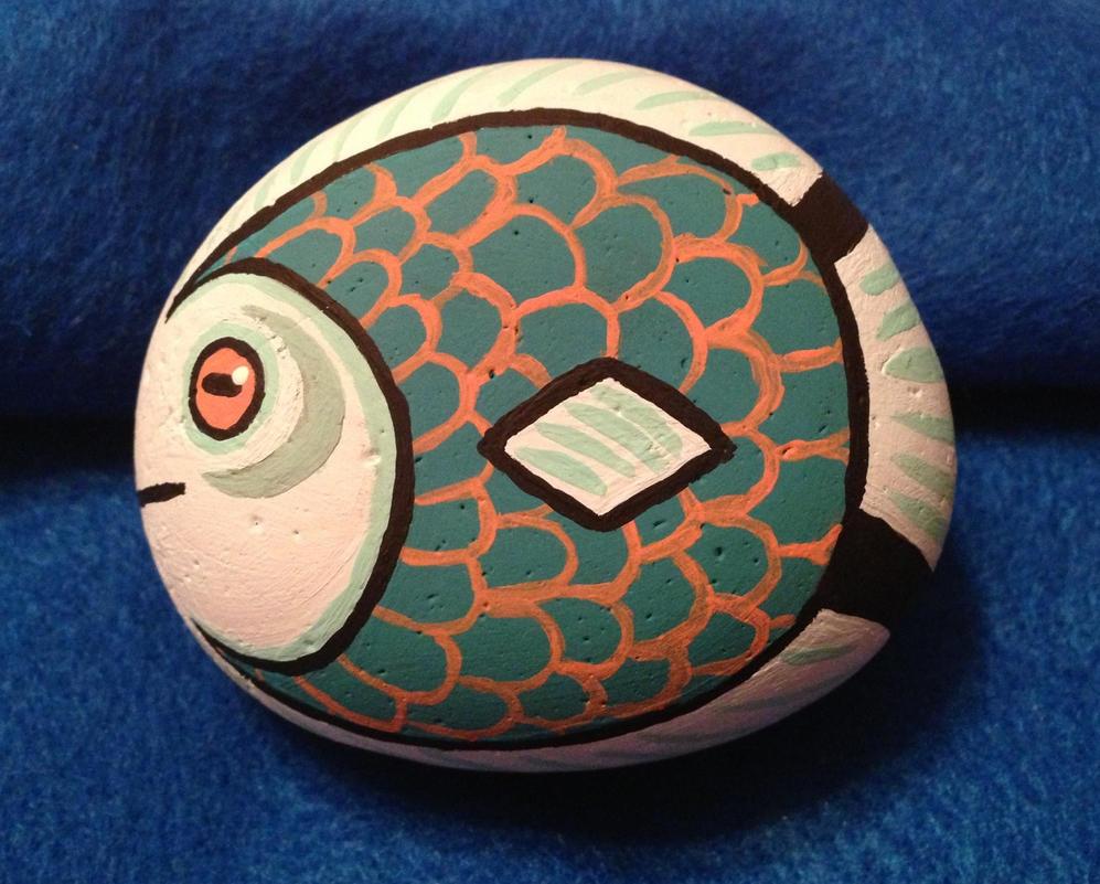 Fish Painted Rock by Awajuk