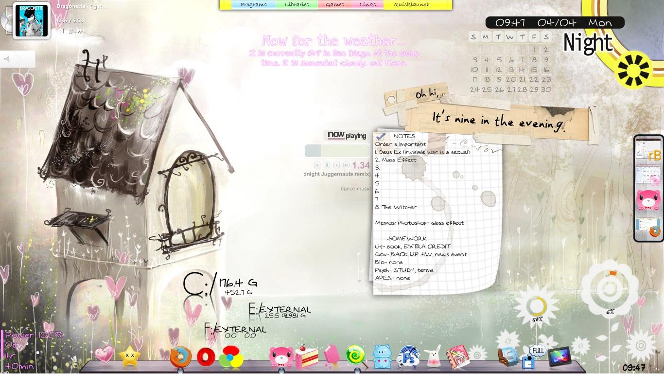 1st Rainmeter Desktop by PnkRxPrncss