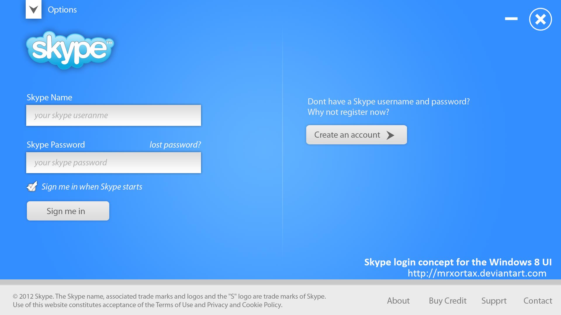 Skype login account -  Skype Login Concept For Windows 8 Ui By Mrxortax