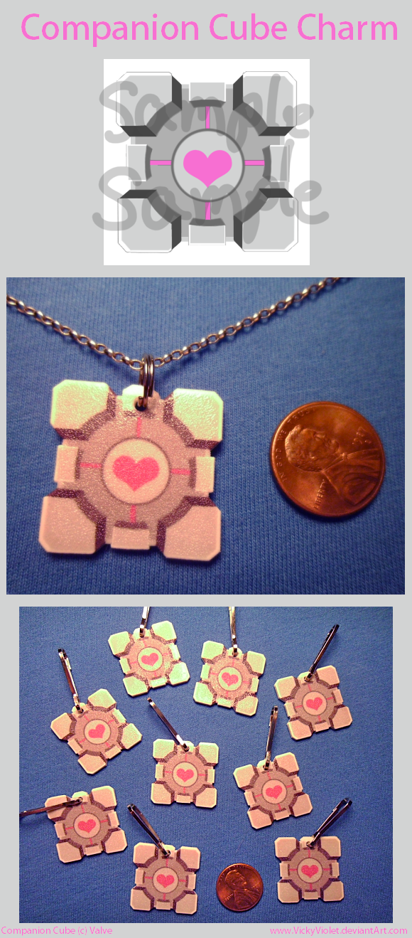 Companion Cube Charm by VickyViolet