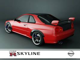 nissan skyline GTR R34 red-2 by 3dmanipulasi