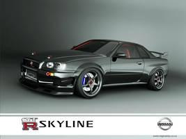 nissan skyline GTR R34 black by 3dmanipulasi