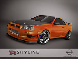 nissan skyline GTR R34 orange by 3dmanipulasi