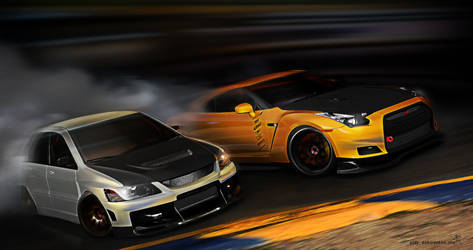 evo VS gtr -drift- by 3dmanipulasi