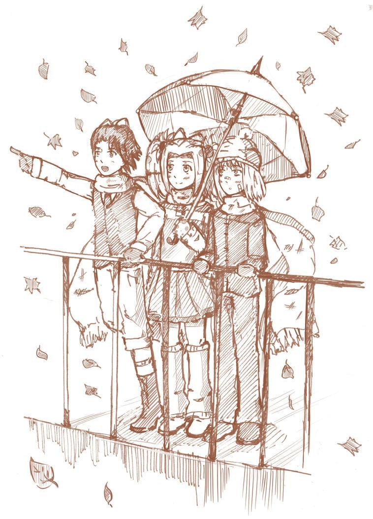 autumn trio by Angelmewkaro