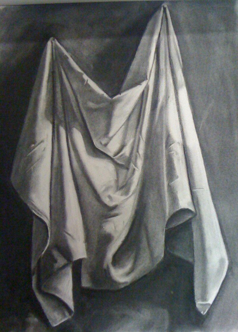 Still Life Fabric Drawing WIP