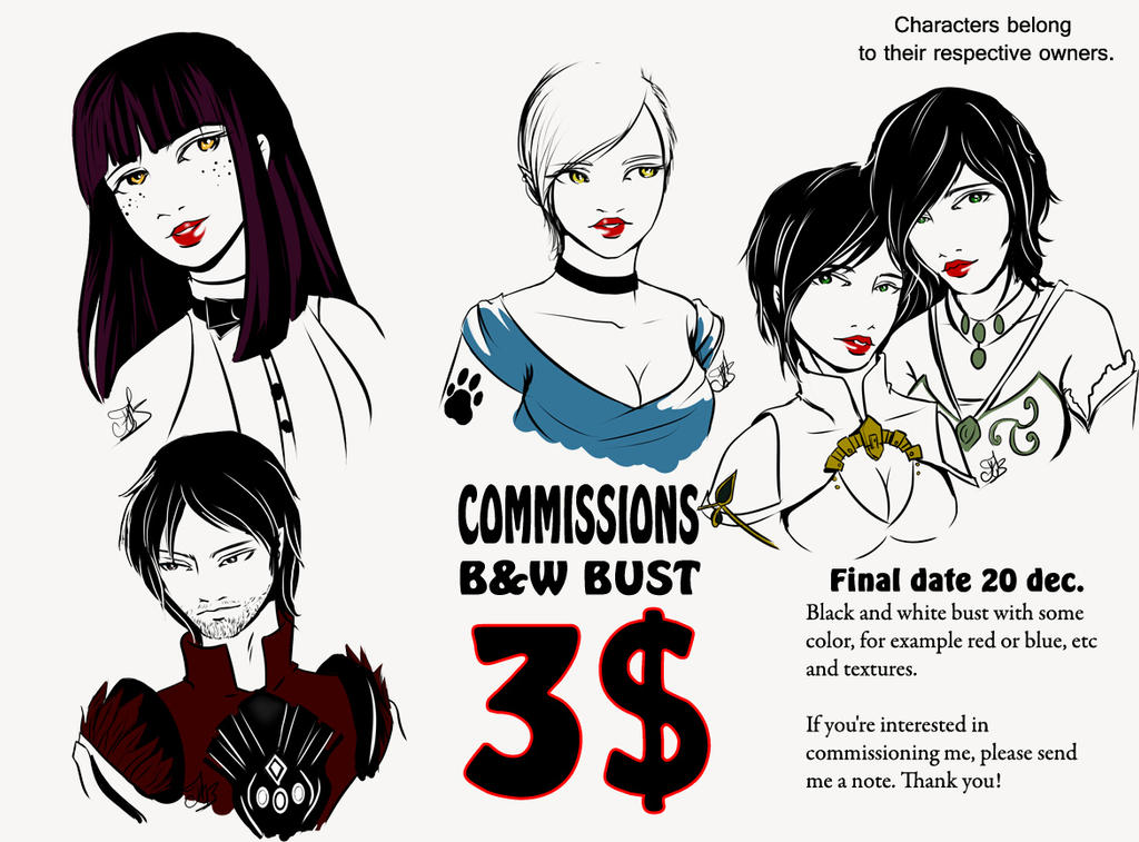 Commissions B/W Bust examples 4 by Lauralanthalasa