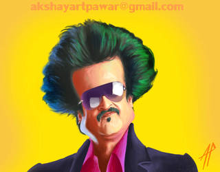 Rajnikanth - bollywood poster style caricature.