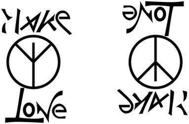 Ambigram-Make Love Not War by sid-raphael