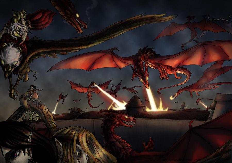 Dragonlance: Dragon Attack On Tarsis by Kabudragon