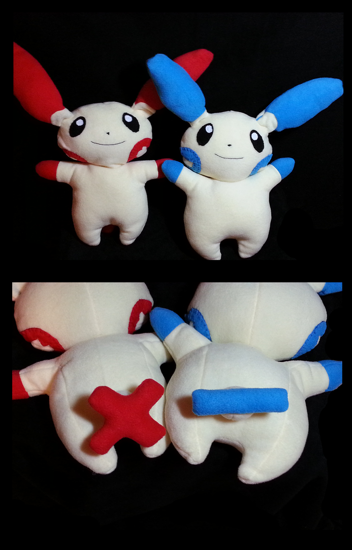#311 and #312: Plusle and Minun by kadono