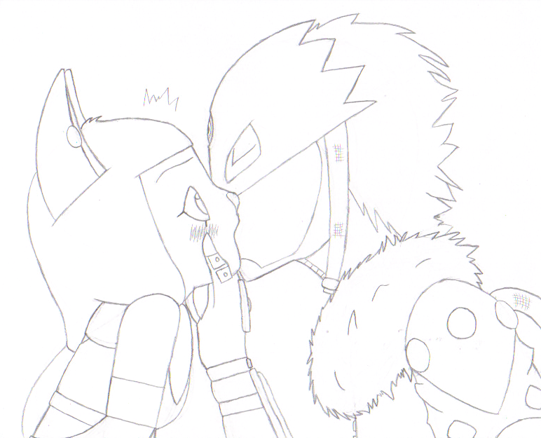 Lineart: Surprise Kiss by 6SeaCat9