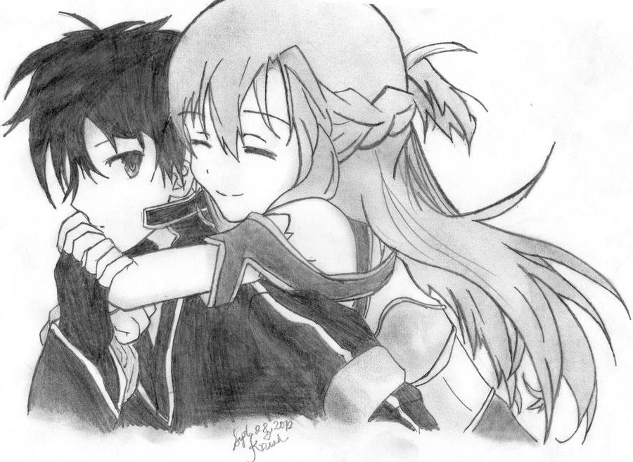 kirito and Asuna ( Sword Art Online ) by 00ookrrishoo00