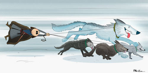Arya and the Direwolf Pack