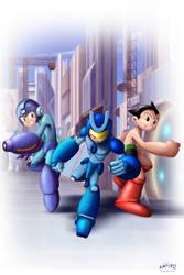 Megaman, Combatron, Astroboy by Serathus