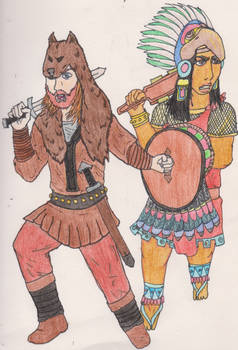 The Viking Berserker and Aztec Eagle Warrior