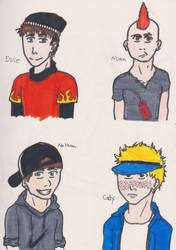 The Gang: Dave, Max, Nathon, Cody by ComiCWolf16