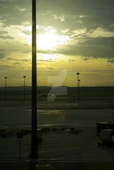 Sunrise on asian airport
