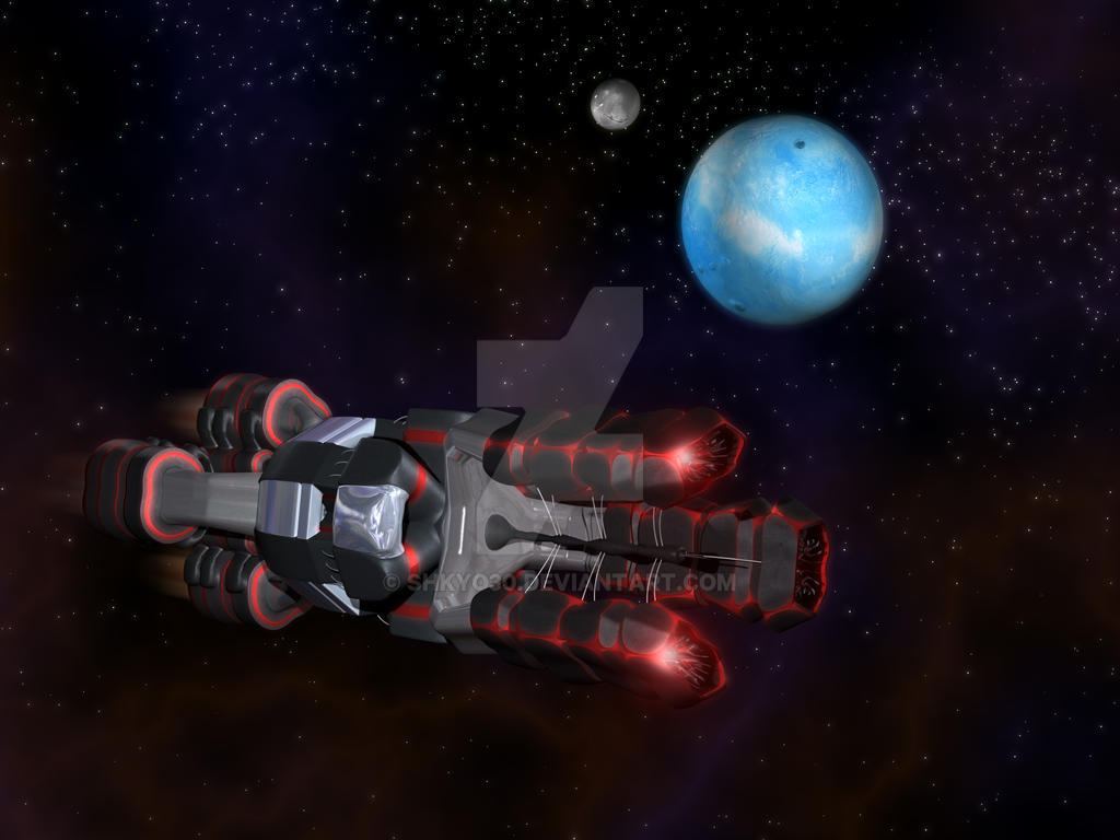 Black and Red Space Craft with organic design by shkyo30