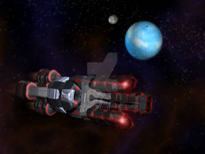 Black and Red Space Craft with organic design