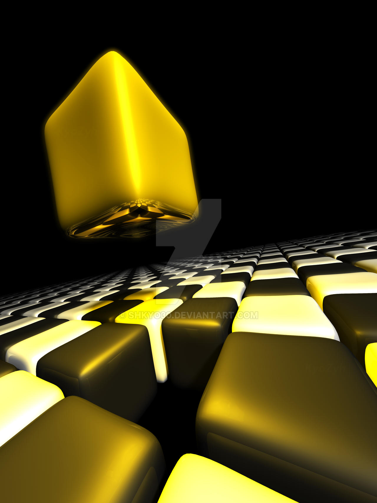 Gold cube alone above many anonymous cubes by shkyo30