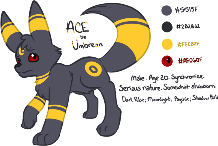 Ace the Umbreon (OC Refsheet) by Angiebutt