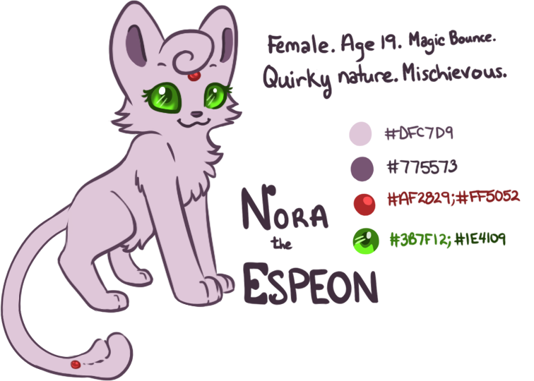 Nora the Espeon (OC Refsheet) by Angiebutt