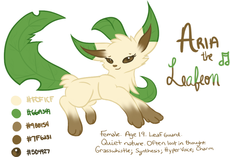 Aria the Leafeon (OC Refsheet) by Angiebutt