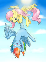 Flutter Shy and Rainbow Dash by nekokevin