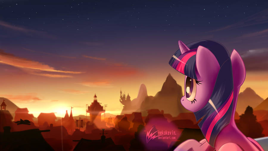 Twilight Sparkle at Ponyville twilight by nekokevin