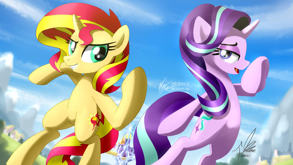 Sunset Shimmer and Starlight Glimmer