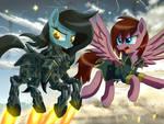 Crimson Sunset flies with robot pony 05