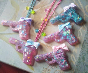 Kawaii Gun Necklaces by OphanimGothique