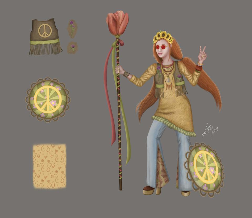 Smite skin concept hippie Athena fan art by Czelabinsk