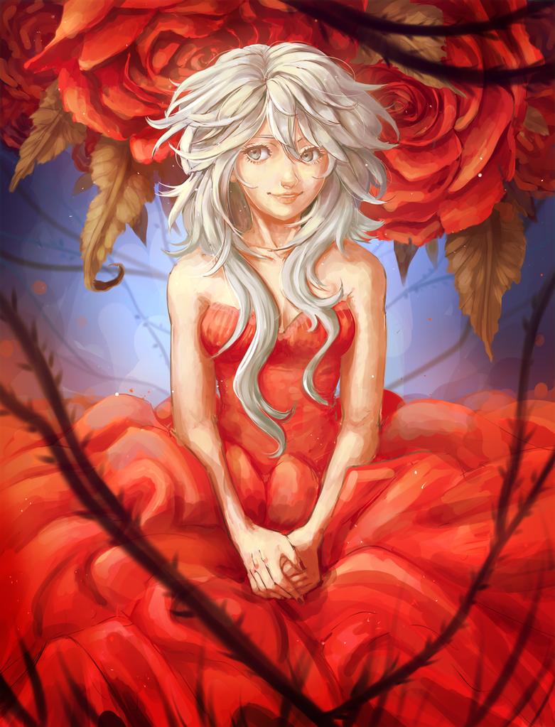 Blood red crystal by BayneezOne