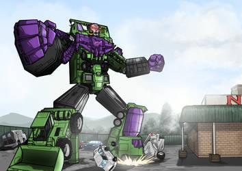 Devastator Kicking it in the Carpark by Helios437