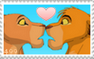 Simba and Nala Kiss Stamp by RogueLottie