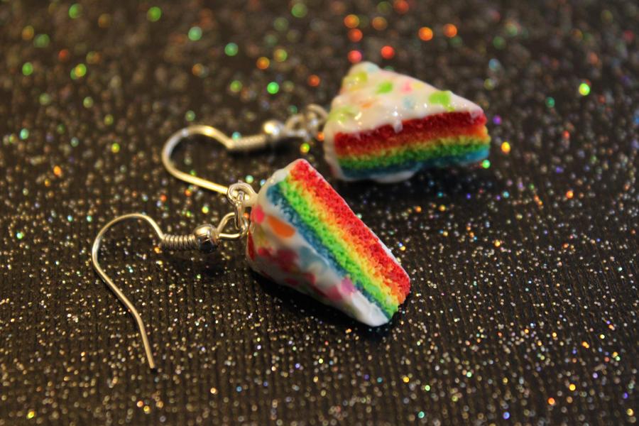 Rainbow cake earrings by rainboww-horror