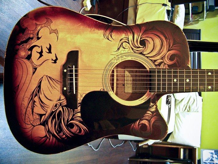 Guitar sharpie art 1 by zeonflux on deviantart for Acoustic guitar decoration ideas