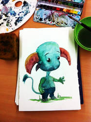 Water color painting: Creature by sodeikat