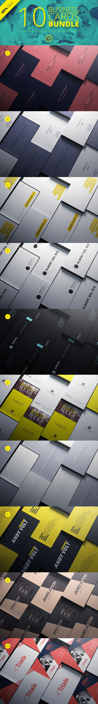 10 Business Cards Bundle V1 by cooledition